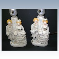 VINTAGE Occupied Japan Two Bed Room Lamps Figurines