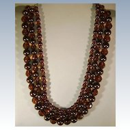 1980'S Convertible Brown Faux Pearls beads and Glass Necklace Changeable