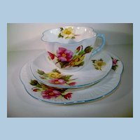 VIntage Shelley 3 Piece Begonia Pattern Cup, Saucer and Dessert Dish