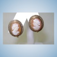 VINTAGE Screw Back Shell Cameo Earrings  1/20 12K Gold Filled