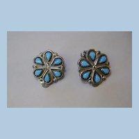 VINTAGE Sterling Zuni Clip Flower Earrings