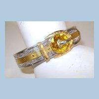 VINTAGE 1920'S Art Deco Rhodium Plated Filigree Buckle Bracelet