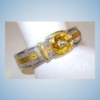 VINTAGE 1920'S Art Deco Rhodium Plated Filigree Buckle Bracelet