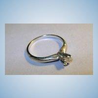 VINTAGE White Gold 14K Diamond Engagement Ring .20  Size 5 3/4