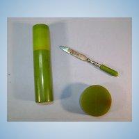 VINTAGE Green Spinach Bakelite 3 pieces Pencil Sharpener, Manicure file and Holder
