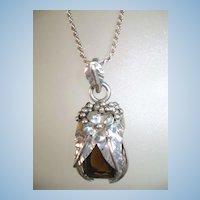 VINTAGE Sterling Chain and Smoky Quartz Pendant with Sterling Leaves