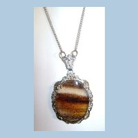 VINTAGE  Victorian Moss Agate Necklace and Sterling Chain