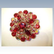 VINTAGE Unsigned  Beautiful Red Brooch  It's A Dandy!