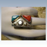 Different Indian-made Sterling Ring  with Turquoise Coral and Cubic Z irconia