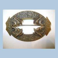 VINTAGE Victorian Brass Brooch  Classy