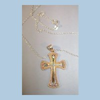 Sterling Cross and Chain  Cross has Gold Overlay