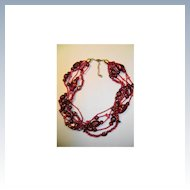 VINTAGE Five Strand Beautiful Ruby Red Glass 15 Inches
