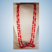VINTAGE Flapper Long Glass Bright Red  56 Inches long  Wonderful
