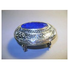 VINTAGE Silver Jewelry Casket  with Lapis Lazuli Gem on small legs