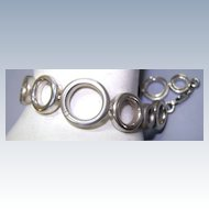 VINTAGE Sterling Bracelet with Small Diamonds  7 Inch