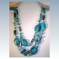VINTAGE Two Strand  Knotted Turquoise Necklace with Mother of Pearl