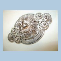 VINTAGE Heavy Silver Work Brooch Made in Mexico