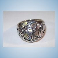 VINTAGE Sterling Mother of Pearl Tears Ring  Size 7
