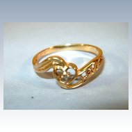 VINTAGE  Small Diamond Ring  10K says Love with Heart 6 1/2