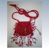 Red Amulet Peyote Stitched Bag from the 70'S
