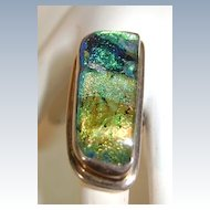 VINTAGE Fused Dichroic Glass Ring  Size 6