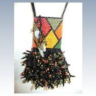 VINTAGE  Amulet Peyote 80'S  Beaded Bag