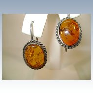 VINTAGE Sterling and Amber Earrings