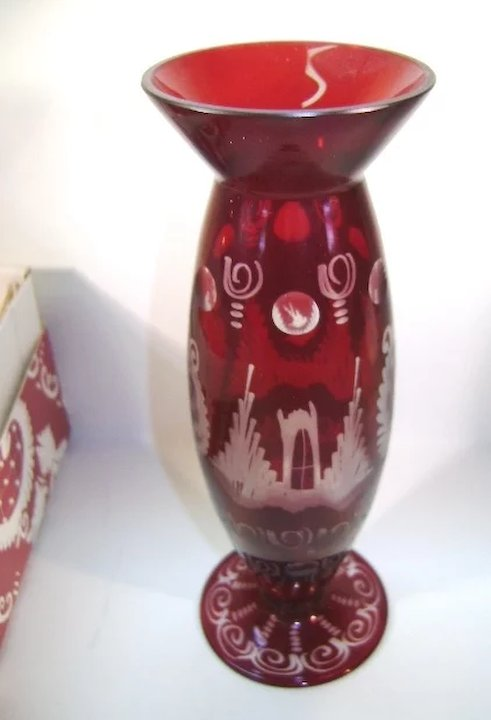 Vintage Egermann Czechoslovakia Vase Red Cut To Clear Ruths