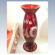 VINTAGE Egermann Czechoslovakia Vase Red Cut to Clear