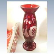 VINTAGE Egermann Czechoslovakia Vase Red Cut to Clear