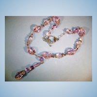 VINTAGE Pink-lavender Crystal Necklace 3 inch drop