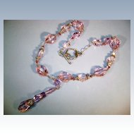 VINTAGE Pink-lavender Crystal Necklace 3 inch drop