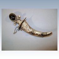 VINTAGE  Mexican Silver Famous Dagger Brooch with Onyx Jewels