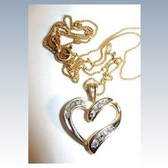 VINTAGE Diamond Heart  with 18K Gold 18 inch Chain