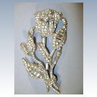 VINTAGE  40'S Beautiful Flower Rhinestone Brooch  Large