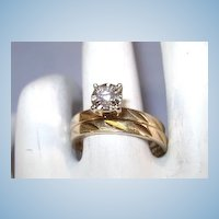 VINTAGE 14K Yellow Gold Diamond Wedding Set  Size  6 1/2