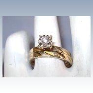 VINTAGE 14K Yellow Gold Diamond Wedding Set  Size  6 1/2