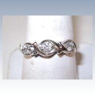 VINTAGE Three Diamond 10K White Gold Ring Size 7 3/4