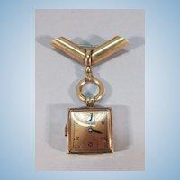VINTAGE Rose Gold Munwill Lapel Watch  WORKS!