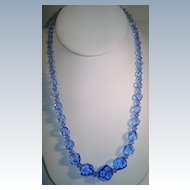 VINTAGE 18 inch Necklace of Pretty Graduated  Blue Glass Beads
