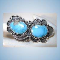 VINTAGE  Impressive Sterling and Turquoise Middle finger Ring Size 9 +
