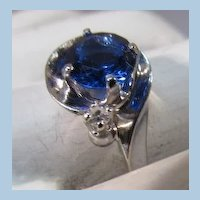 VINTAGE 10k Ring with small diamond and Blue Simulated Stone.  Size 6 3/4