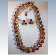 VINTAGE Signed Coro Double Strand Glass Bead Necklace and Earrings