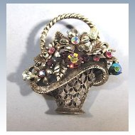 VINTAGE Weiss Basket of Jewels Brooch Larger Version