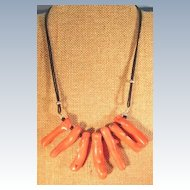 VINTAGE Bamboo Coral on Leather String Necklace  Interesting