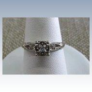 VINTAGE  50'S  White Gold Small Diamond Ring  Size 6  3/4