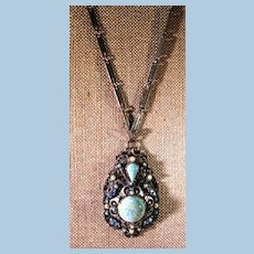 VINTAGE Florenza Glass and Pearl Beads and Rhinestone Necklace