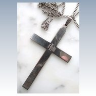 VINTAGE  Sterling Cross and Chain  Cross 3 1/4 inches and Chain 30 inches