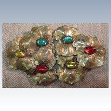 VINTAGE Buckle - Sash  Gold Tone Metal with Rhinestone Jewels