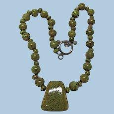VINTAGE  Spring Short Summer Necklace with Pendant
